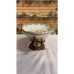 PORCELAIN HAND PAINTED FRENCH MOUNTED BOWL