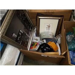 BOX OF MISC HOUSEHOLD ITEMS, SCALE, PICTURES, ETC