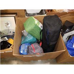 BOX OF 3 TENTS, SLEEPING BAG, AIR MATTRESS, ETC