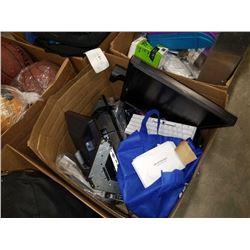BOX OF MISC ELECTRONICS, MONITORS, HDMI KARAOKE MIXER, ETC