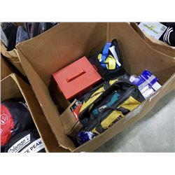 BOX OF MISC TOOLS, HARNESS, SHOCKS, ETC
