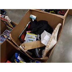 BOX OF MISC HOUSEHOLD ITEMS, DREAM CATCHER, ETC