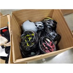 BOX OF ASSORTED SPORTS HELMETS