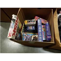 BOX OF ASSORTED GAMES, FIGURES, ETC
