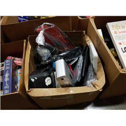 BOX OF MISC ELECTRONICS, KEYBOARDS, MONITORS, ETC