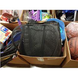 BOX OF SEAT CUSHIONS, TRAVEL PILLOWS, BACK CUSHIONS, ETC