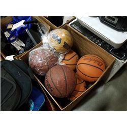 BOX OF ASSORTED SPORTS BALLS, BASKETBALLS, VOLLEYBALLS, ETC
