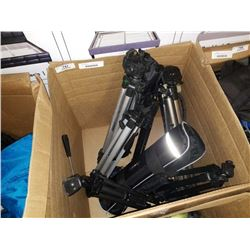 BOX OF APPROX 9 CAMERA TRIPODS