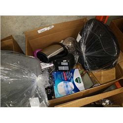 BOX OF MISC HOUSEHOLD ITEMS