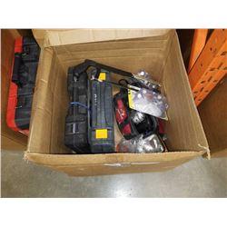BOX W/ 2 PARTIAL SOCKET SETS, BAG OF TOOLS, ETC