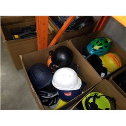 2 BOXES OF ASSORTED HELMETS AND HARDHATS