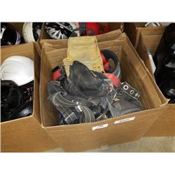 BOX OF ASSORTED TOOL BELTS AND HARNESSES