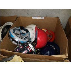 BOX OF ASSORTED HELMETS AND HARD HATS