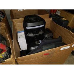 BOX OF ELECTRONICS, POLK AUDIO SUB, ETC