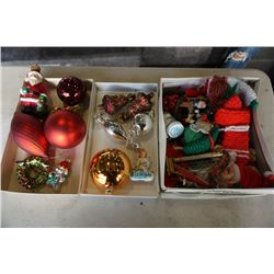 3 BOXES OF VINTAGE CHRISTMAS DECOR AND ORNAMENTS