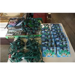LOT OF OUTDOOR CHRISTMAS LIGHTING IN TOTE W/ LID- SOME NEW IN BOX