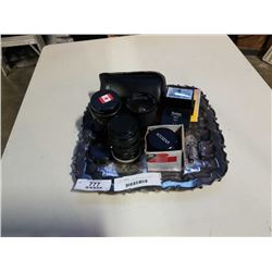 SILVER PLATED TRAY W/ CAMERA LENSES AND FLASH
