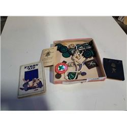 TRAY OF 1950s GIRL GUIDE BADGES, BOOK, WHISTLE