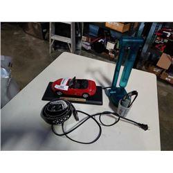 DIE CAST HONDA S2000, BELT, SUNGLASSES AND LAMP
