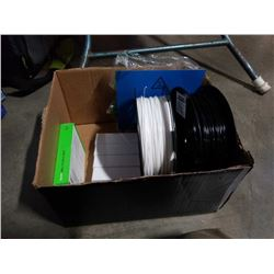 BOX OF 3D PRINTING SPOOLS AND SMART PLUGS