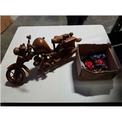 WOOD MOTORCYCLE FIGURE AND MAISTO MOTORCYCLES