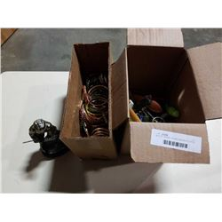2 BOXES OF POCKET KNIVES, MULTI TOOLS AND BANGLES