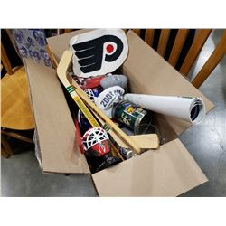 BOX OF SPORTS COLLECTIBLES