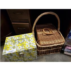 WICKER BASKETS, TIN BOX AND COLLECTABLES