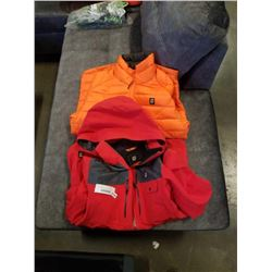 ORAGE RED WINTER JACKET AND ORAGE PUFFY INSULATED JACKET, BOTH SIZE MEDIUM