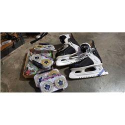 Size 11 tacks ice hockey skates with Toronto maple leaf coasters and snoopy figures