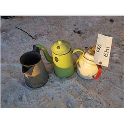 Lot 3 Coffee Pots - 2 Enamelware