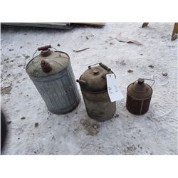 3 Gas Cans & Oil Can