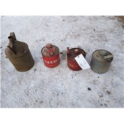 2 Gas Cans & Oil Can