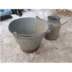Milk Bucket & Wood Handle Pail