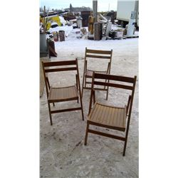 3 Folding Wooden Chairs