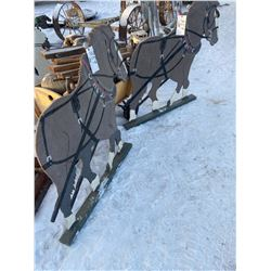 """2 WOODEN CUT OUT HEAVY HORSE TEAM, 46""""L, 44""""T"""