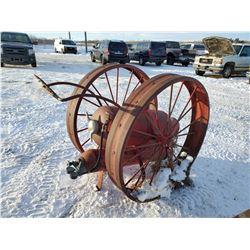 Steel wheel fire cart c/w tank, FROM VILLAGE OF HOEY