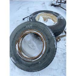 2 Tires on Rims 9R 22.5 & 12R 22.5