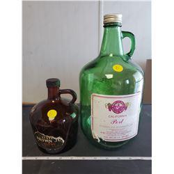 3L wine jug green glass & brown glass whiskey jug