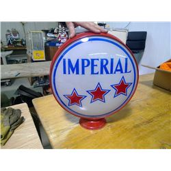 "Imperial 3 Star 15"" Glass Globe, Steel Ring, Excellent Addition to a Gas Pump Collection"