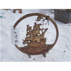 """Cast Ship Lawn Ornament 17""""d"""
