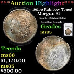 ***Auction Highlight*** NGC 1901-o Rainbow Toned Morgan Dollar $1 Graded ms65 By NGC (fc)