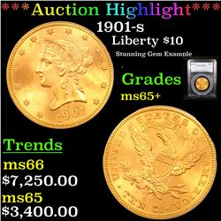 ***Auction Highlight*** PCGS 1901-s Gold Liberty Eagle $10 Graded ms65+ By PCGS (fc)