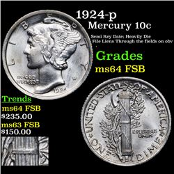 1924-p Mercury Dime 10c Graded ms64 FSB