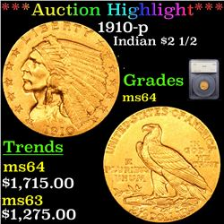 ***Auction Highlight*** 1910-p Gold Indian Quarter Eagle $2 1/2 Graded ms64 By SEGS (fc)