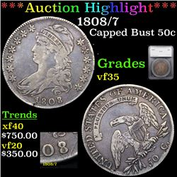 ***Auction Highlight*** 1808/7 Capped Bust Half Dollar 50c Graded vf35 By SEGS (fc)