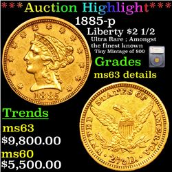 ***Auction Highlight*** 1885-p Gold Liberty Quarter Eagle $2 1/2 Graded ms63 details By SEGS (fc)