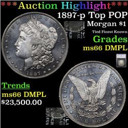 ***Auction Highlight*** 1897-p Top POP Morgan Dollar $1 Graded ms66 DMPL BY SEGS (fc)