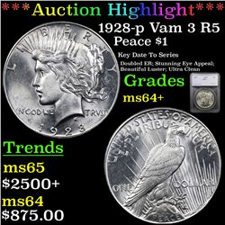 ***Auction Highlight*** 1928-p Vam 3 R5 Peace Dollar $1 Graded ms64+ By SEGS (fc)