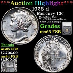 ***Auction Highlight*** 1928-d Mercury Dime 10c Graded ms65 FSB By SEGS (fc)